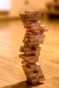 Tower of Jenga blocks
