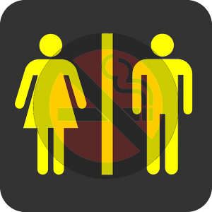 Restroom gender and no-smoking signs