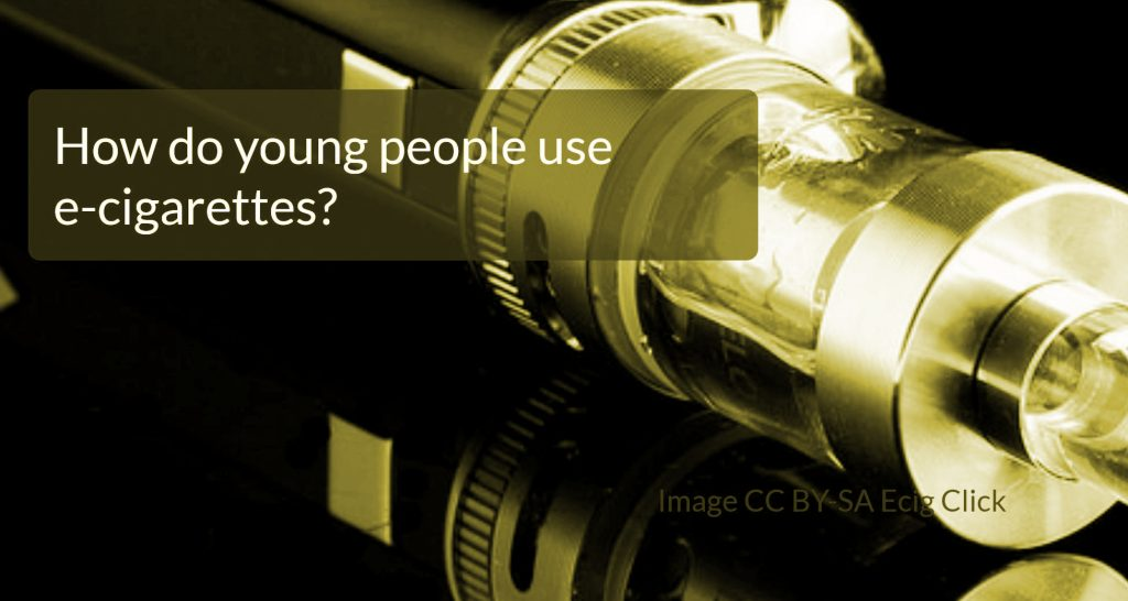 "Photo of e-cigarette with superimposed text that reads ""How do young people use e-cigarettes?"""