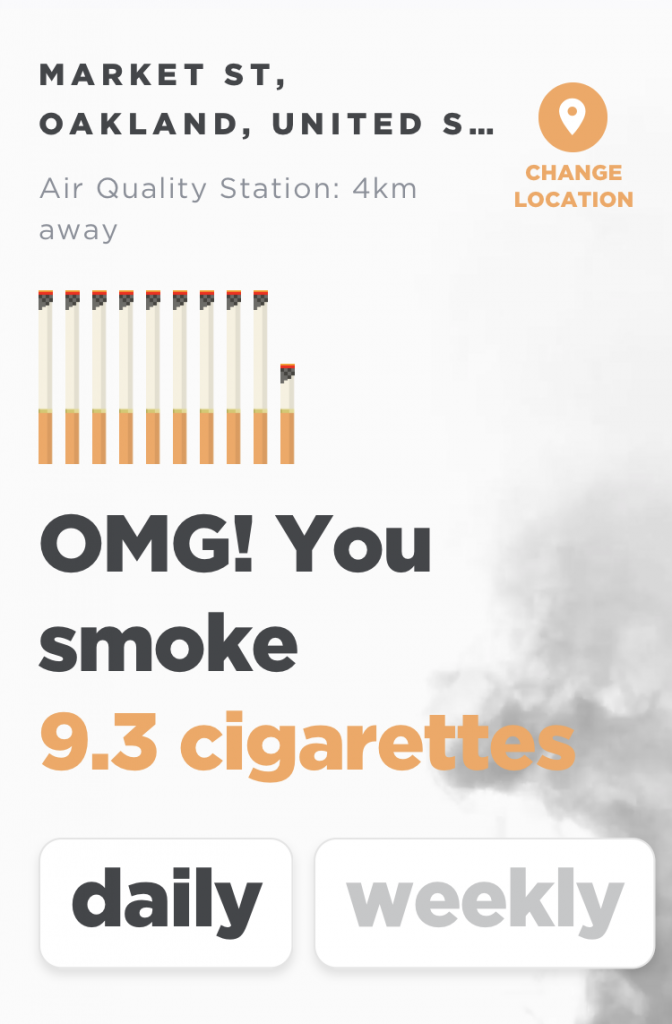 "Screen capture from app, point location in Oakland, CA, says ""OMG! You smoke 9.3 cigarettes daily"""