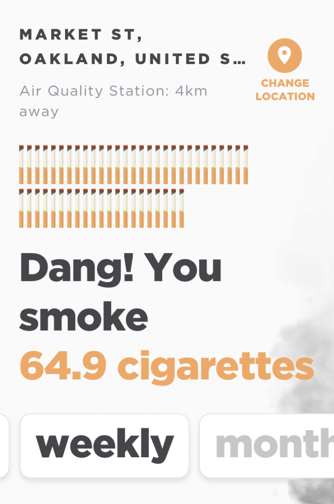 "Screen capture from app, point location in Oakland, CA, says ""Dang! You smoke 64.9 cigarettes weekly"""