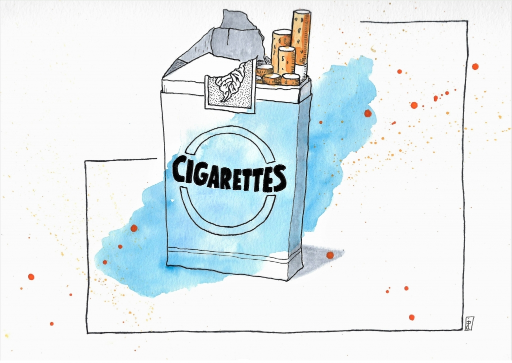 Ink and watercolor illustration of cigarette pack