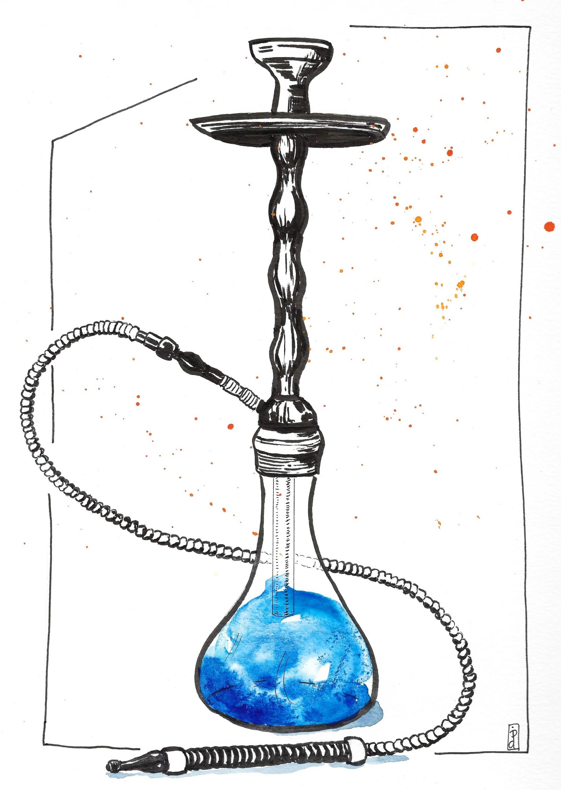 Ink and watercolor illustration of hookah