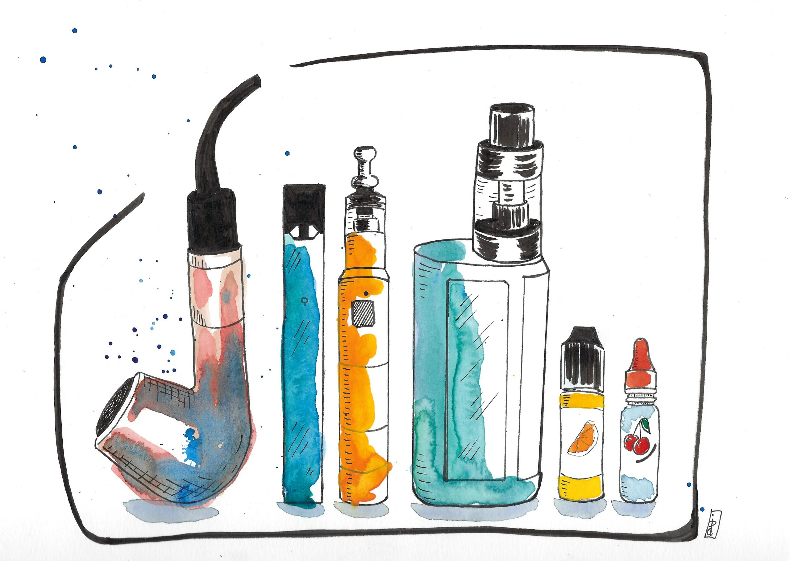 Ink and watercolor illustration of vape devices