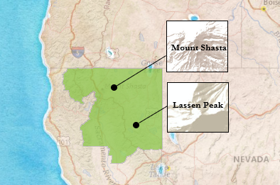 California map with Mt. Shasta and Mt. Lassen highlighted