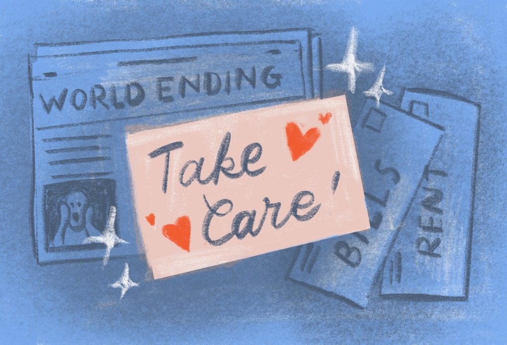 """Drawing shows newspaper with """"World ending"""" headline together with post-it note that says """"Take care"""""""